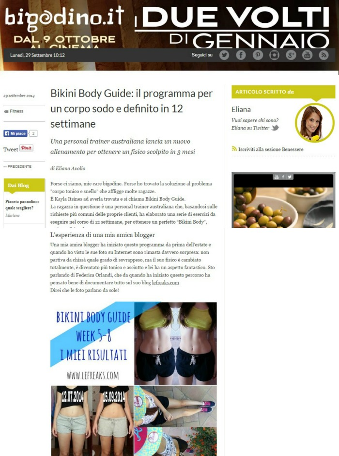 intervista bikiny body guide kayla itsines federica orlandi