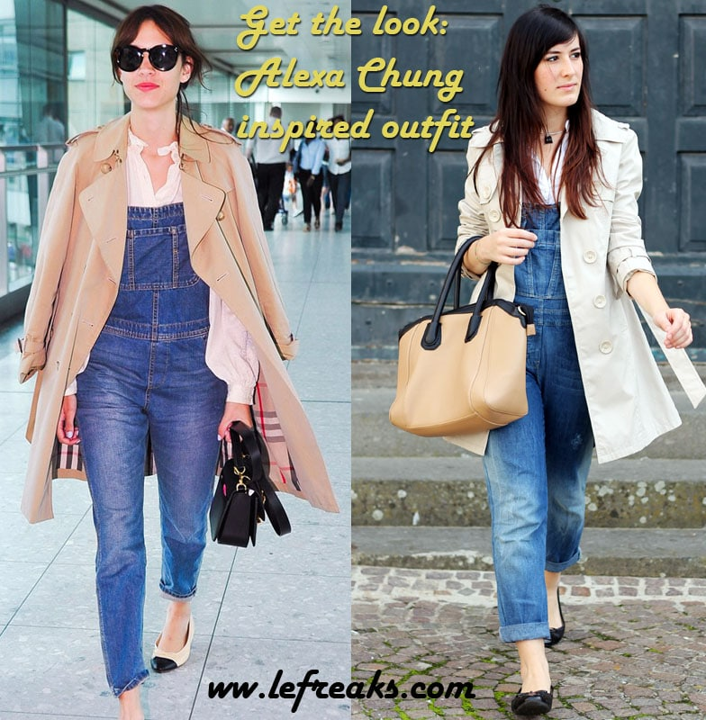 alexa chung inspired outfit salopette trench