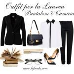 outfit elegante laurea pantaloni camicia blazer decollete