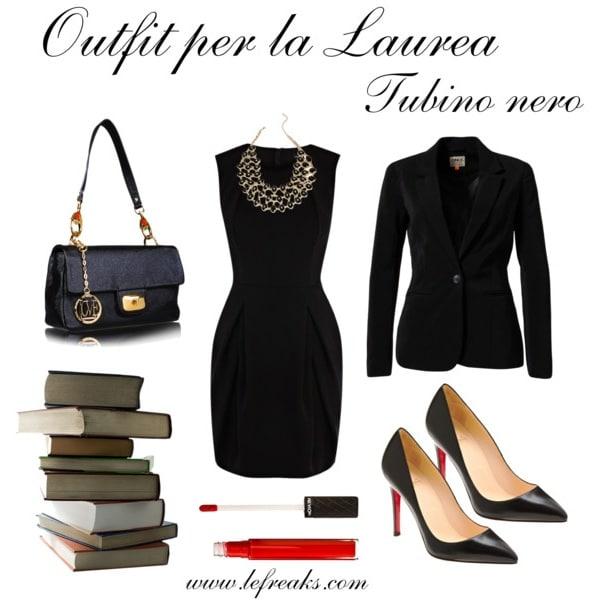 outfit elegante laurea tubino nero blazer decollete