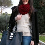 outfit preppy stringate calze pois jeans maglioncino pizzo