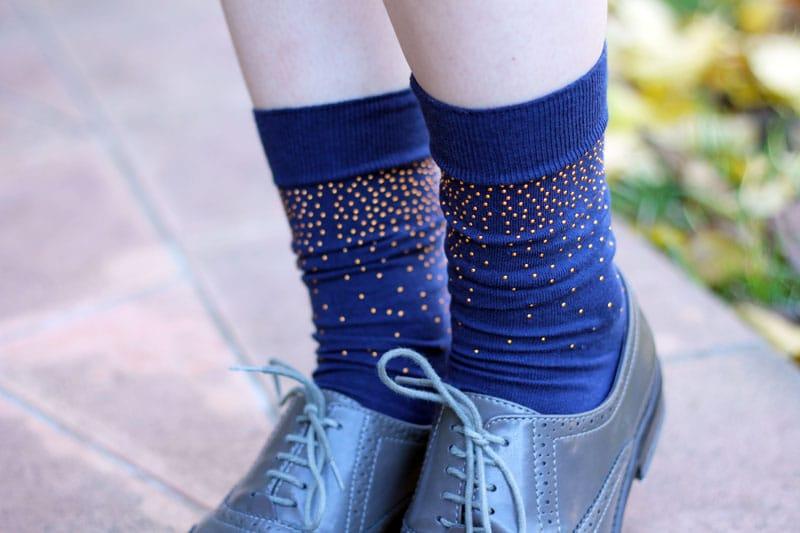 calzini blu alto milano borchie stringate