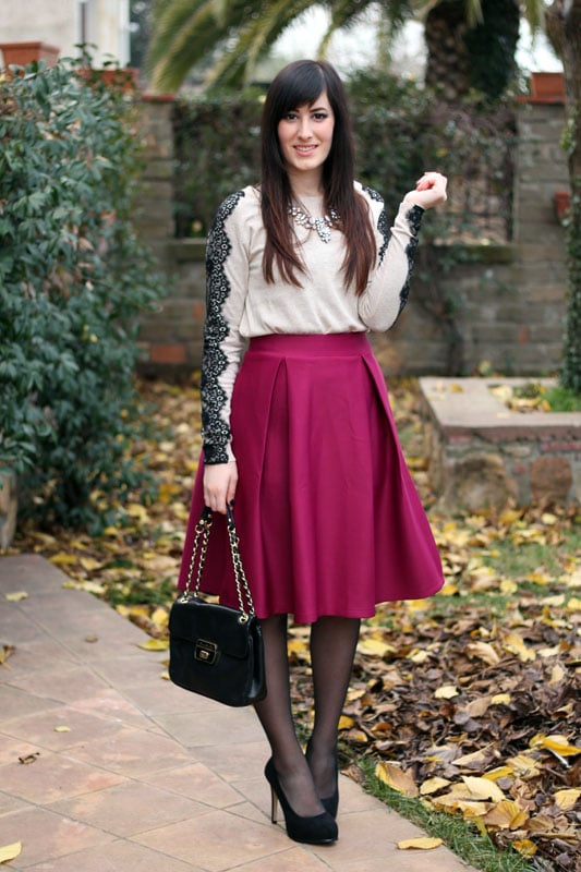 outfit gonna longuette chicwish tacchi decollette pizzo fashion blogger roma