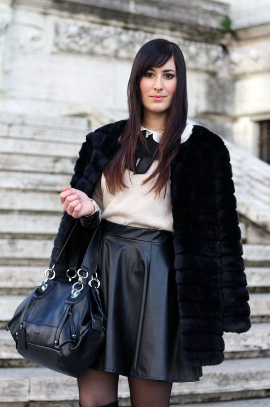 outfit pelliccia chicwish gonna ecopelle stivali over the knee fashion blogger roma
