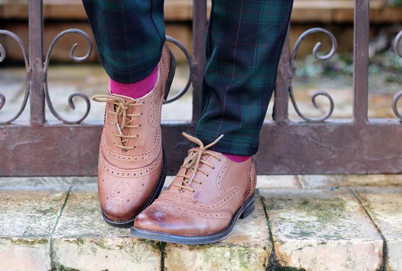 outfit preppy garçonne mannish scarpe stringate derby oxford cuoio fashion blogger roma