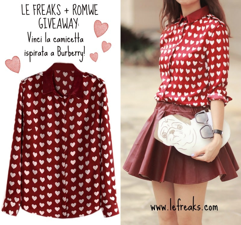 giveaway camicia a cuori burgundy romwe burberry inspired