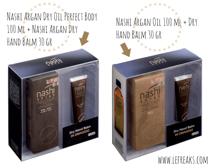 nashi argan dry oil perfect body hand-balm prodotti corpo crema mani skincare kit promozionale