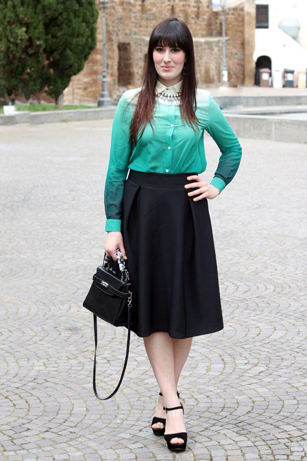 outfit pasqua gonna longuette chicwish camicia degradè romwe
