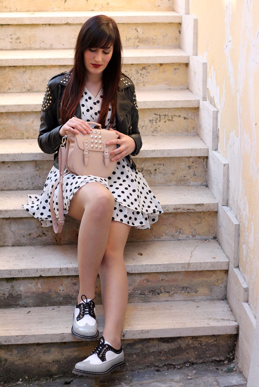 outfit vestito pois romwe giacchetto koralline scarpe stringate cult shoes