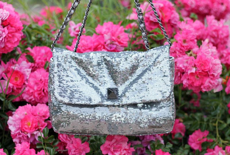 borsa pomikaki elegante paillettes silver elle purse