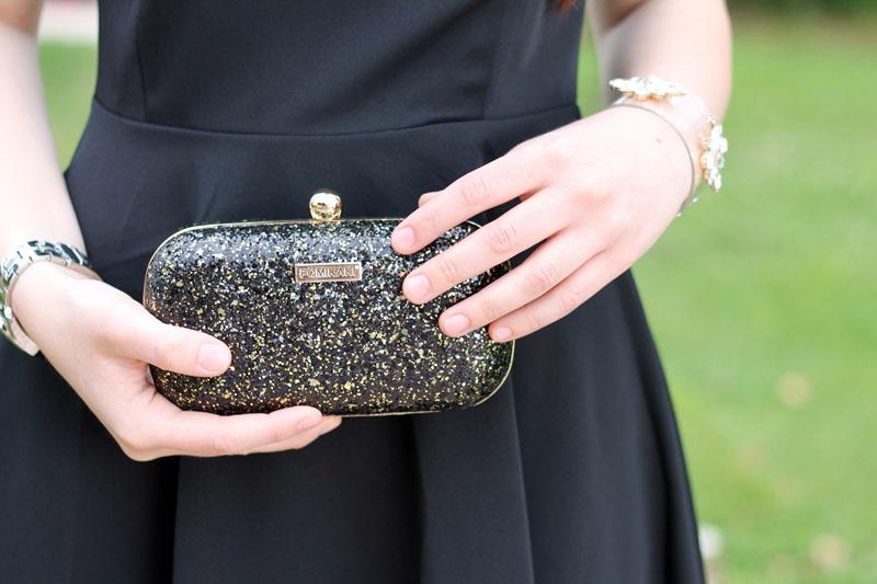 borsa pomikaki clutch elegante glitter cindy black