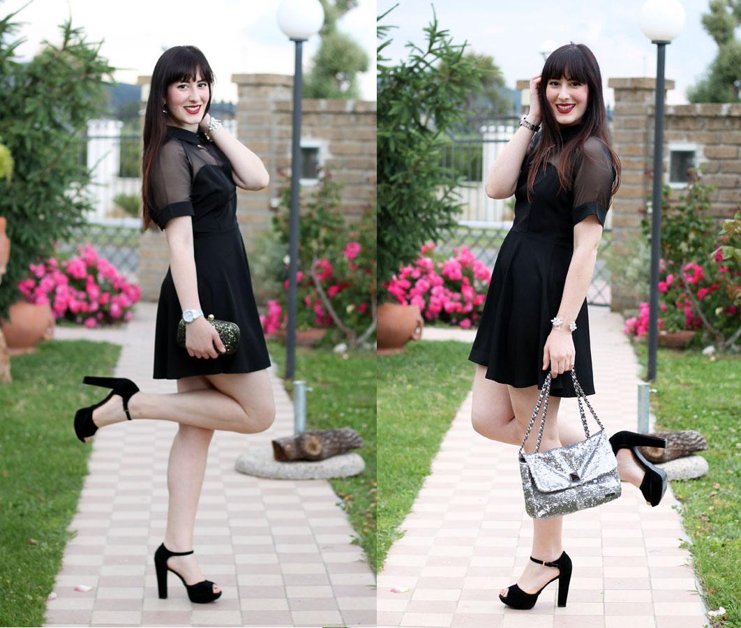 outfit elegante little black dress bye bra borse pomikaki fashion blogger roma