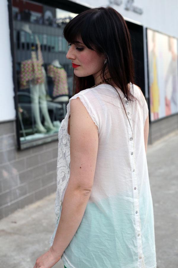 outfit elegante primavera top pizzo risskio
