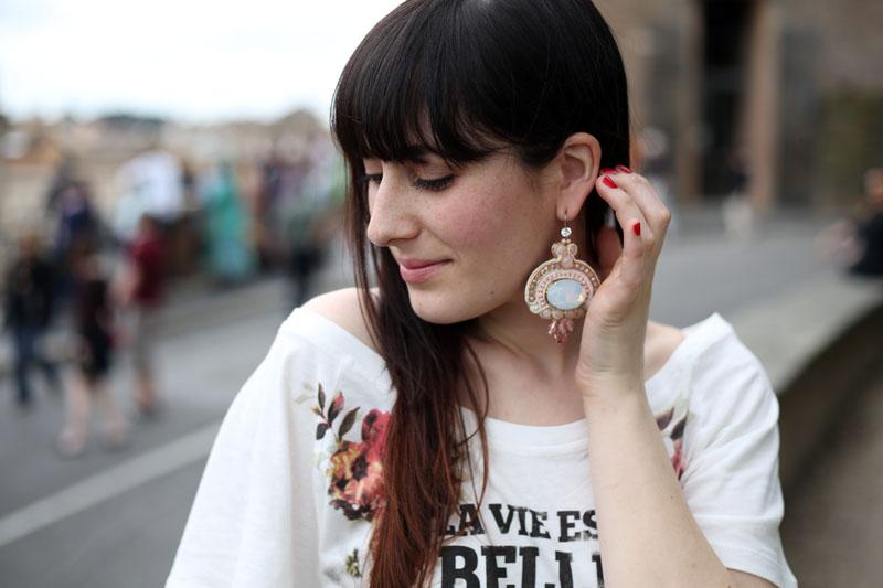 outfit tshirt blackfive  orecchini ottaviani bijoux