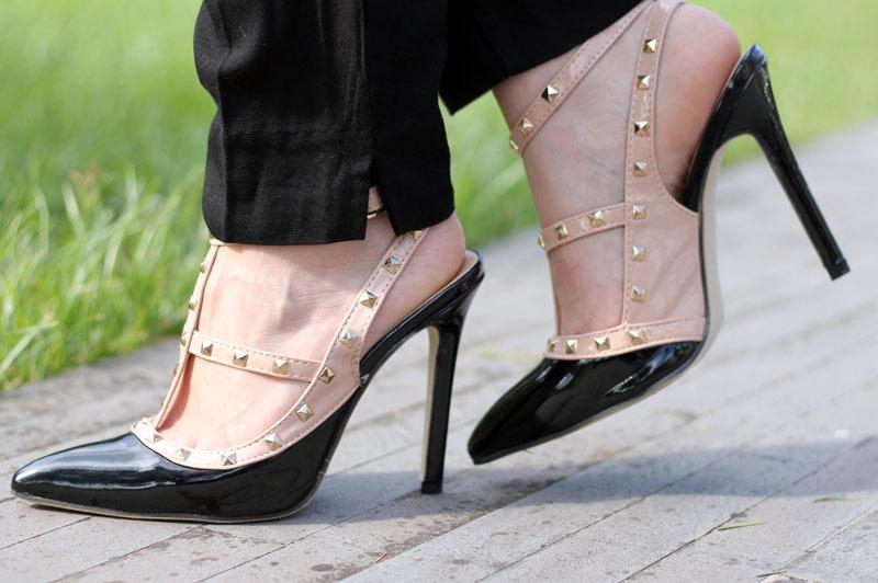 outfit elegante scarpe rockstud low cost