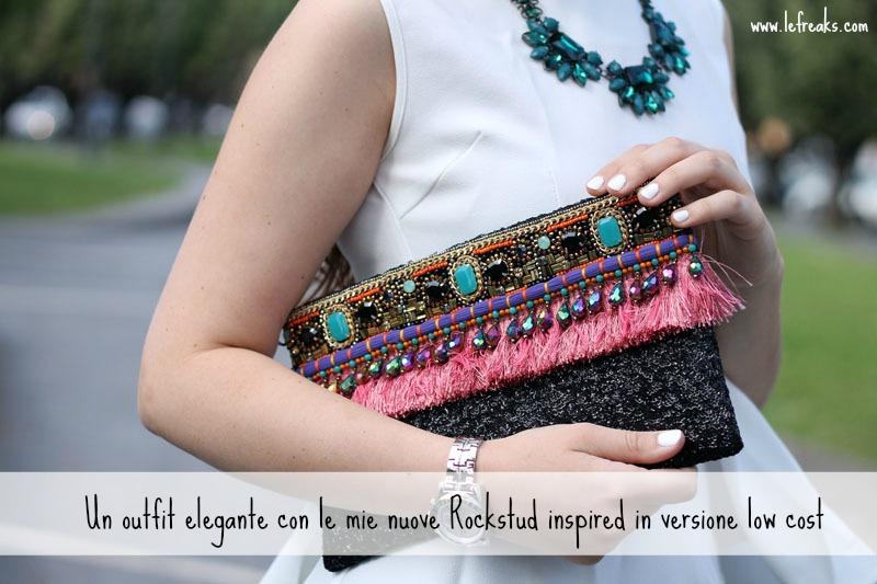 outfit elegante scarpe rockstud low cost, clutch gioiello ottaviani bijoux