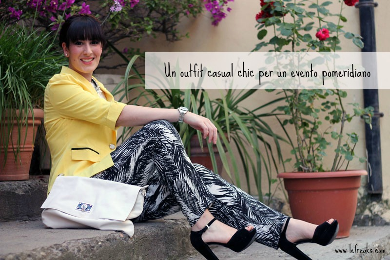 outfit estivo casual chic pantaloni palme hm blazer giallo blackfive collana ottaviani