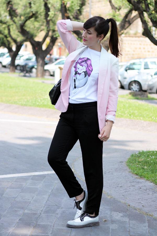 outfit tshirt siamoises scarpe cult shoes blazer romwe fashion blogger roma