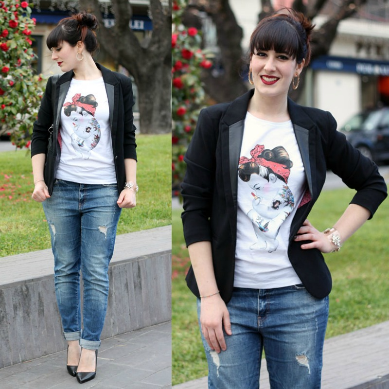 come indossare il blazer nero outfit  casual rockabilly