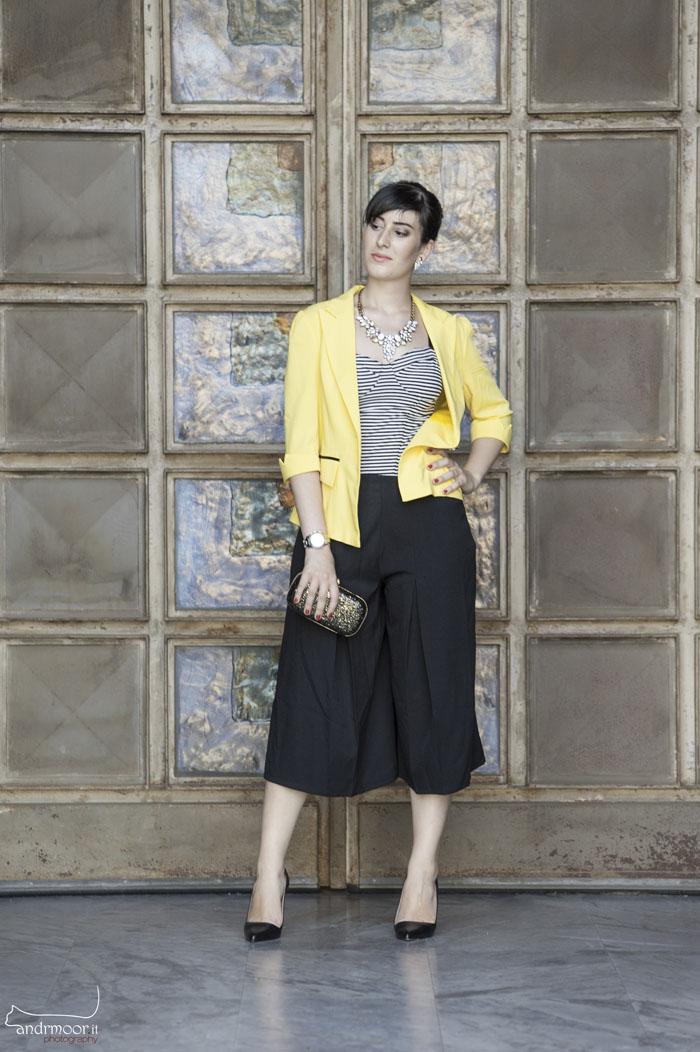 outfit elegante culottes blazer blackfive decollete pomikaki roma