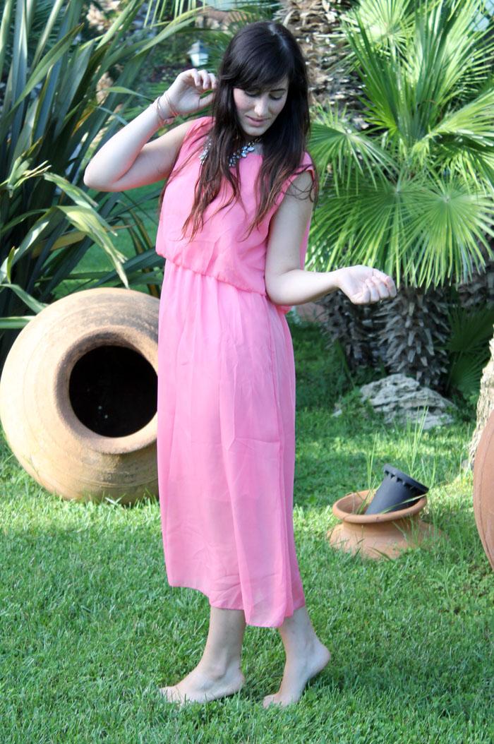 outfit estate 2014 maxi dress rosa vestito lungo