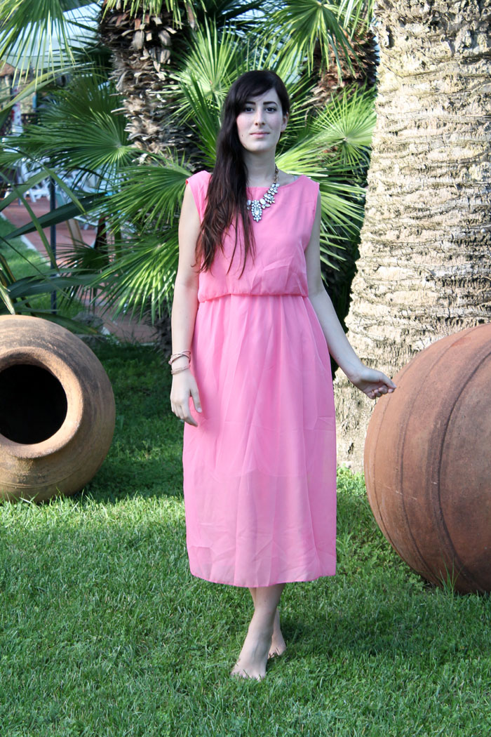 outfit estate 2014 maxi dress rosa vestito lungo
