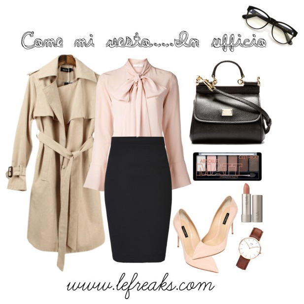 outfit ufficio look formale elegante gonna longuette tacchi