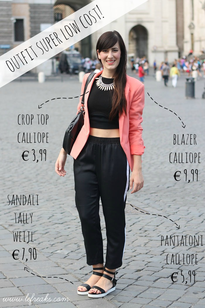outfit low cost sporty chic blazer crop top