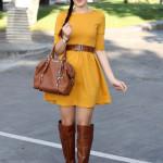 outfit autunno vestito senape stivali aldo shoes borsa michael kors