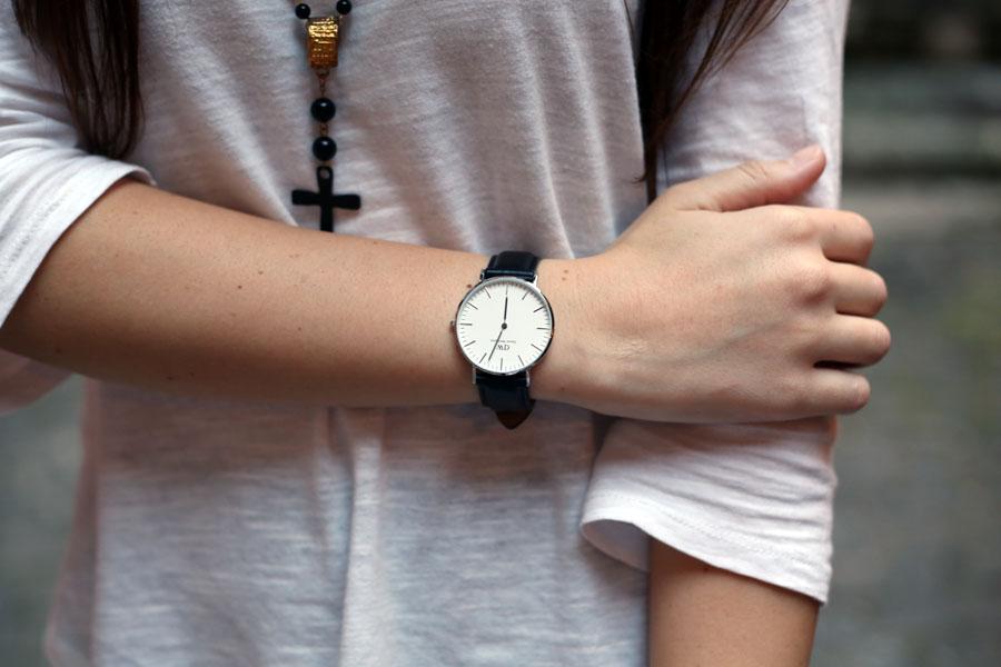 outfit universita orologio daniel wellington