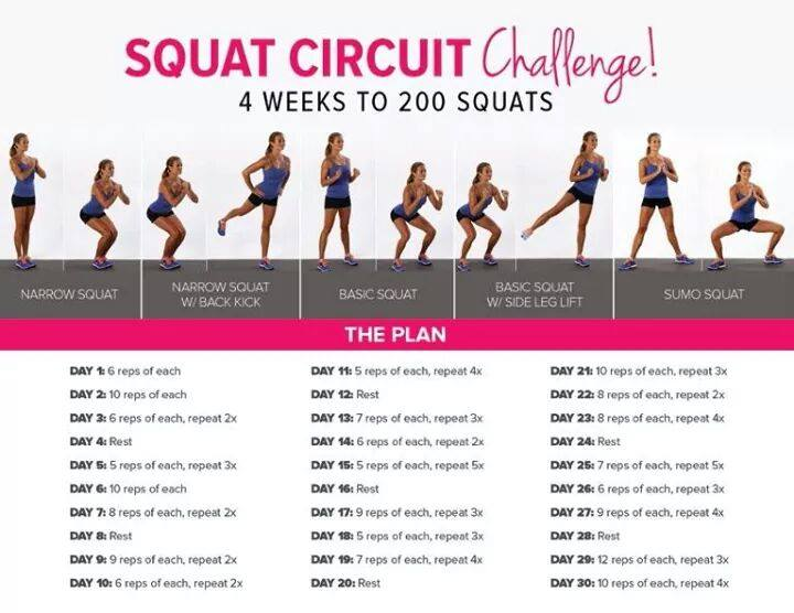 squat challenge 30 giorni esercizi gambe glutei fitness