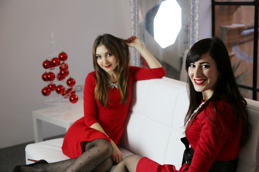 lefreaks jeveronique shooting natale outfit rosso fashion blogger roma