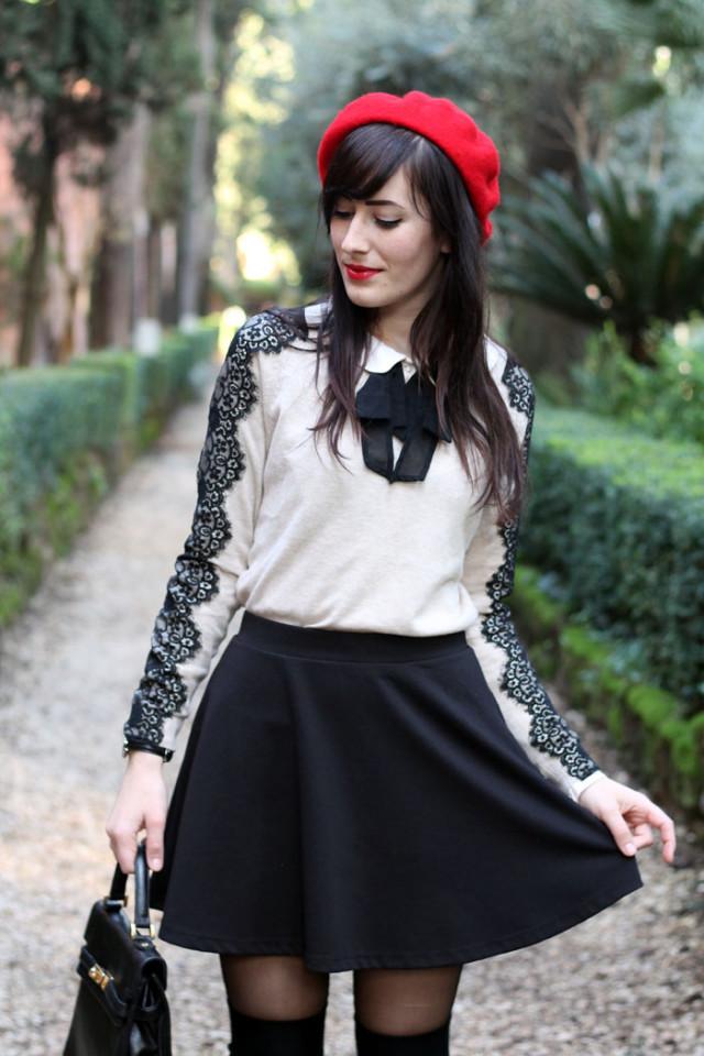 outfit bon ton stile collegiale parigi stringate basco
