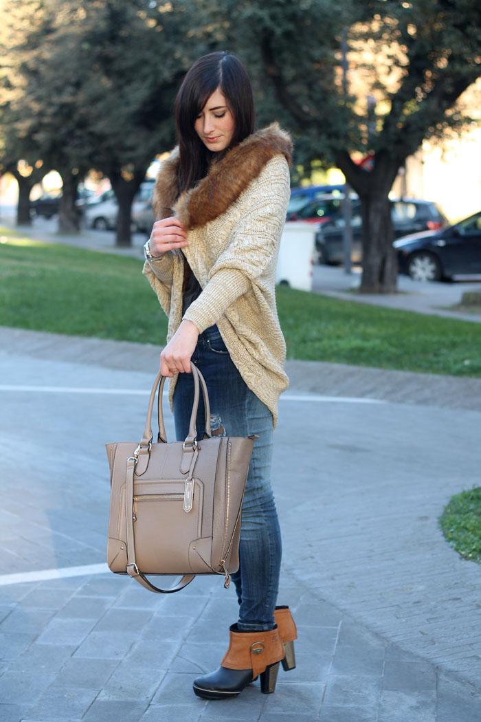 outfit-rain-boots-sorel-skinny-jeans-cardigan-collo-pelliccia-3