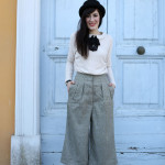 outfit british bon ton pantaloni culotte bombetta