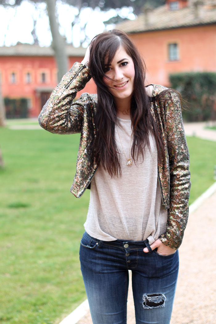 outfit casual giacchetto billabong paillettes skinny jeans