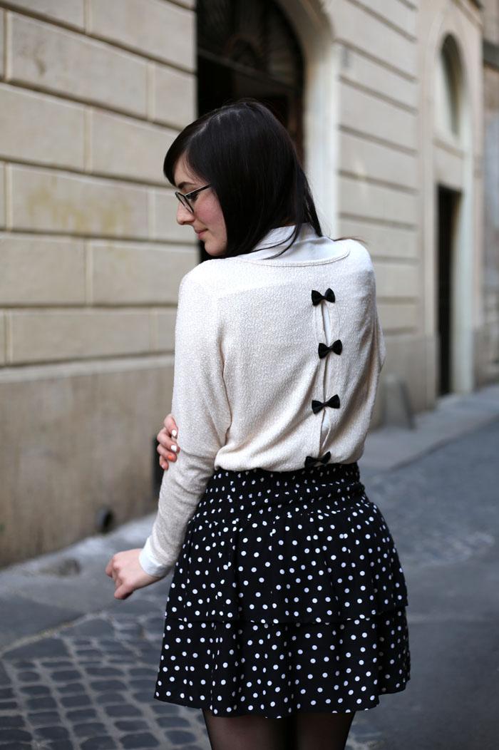 outfit-ufficio-bon-ton-gonna-pois-stringate-occhiali-5