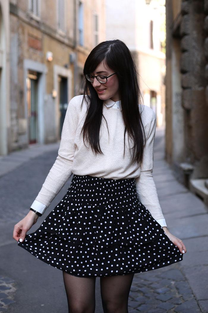 outfit-ufficio-bon-ton-gonna-pois-stringate-occhiali-7