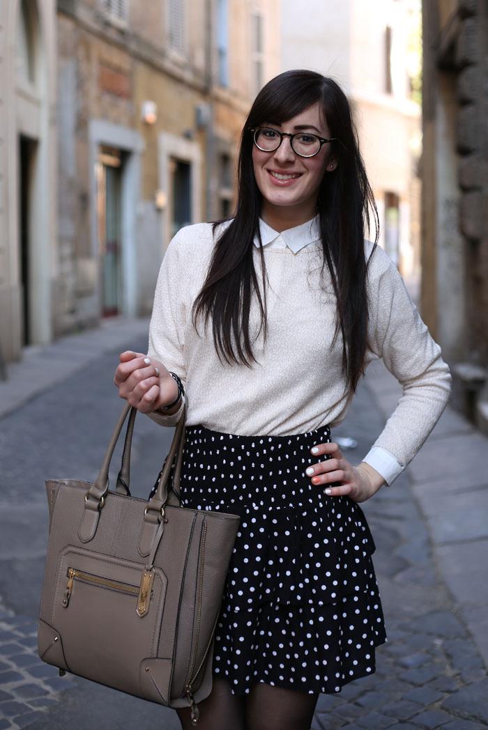 outfit-ufficio-bon-ton-gonna-pois-stringate-occhiali-8