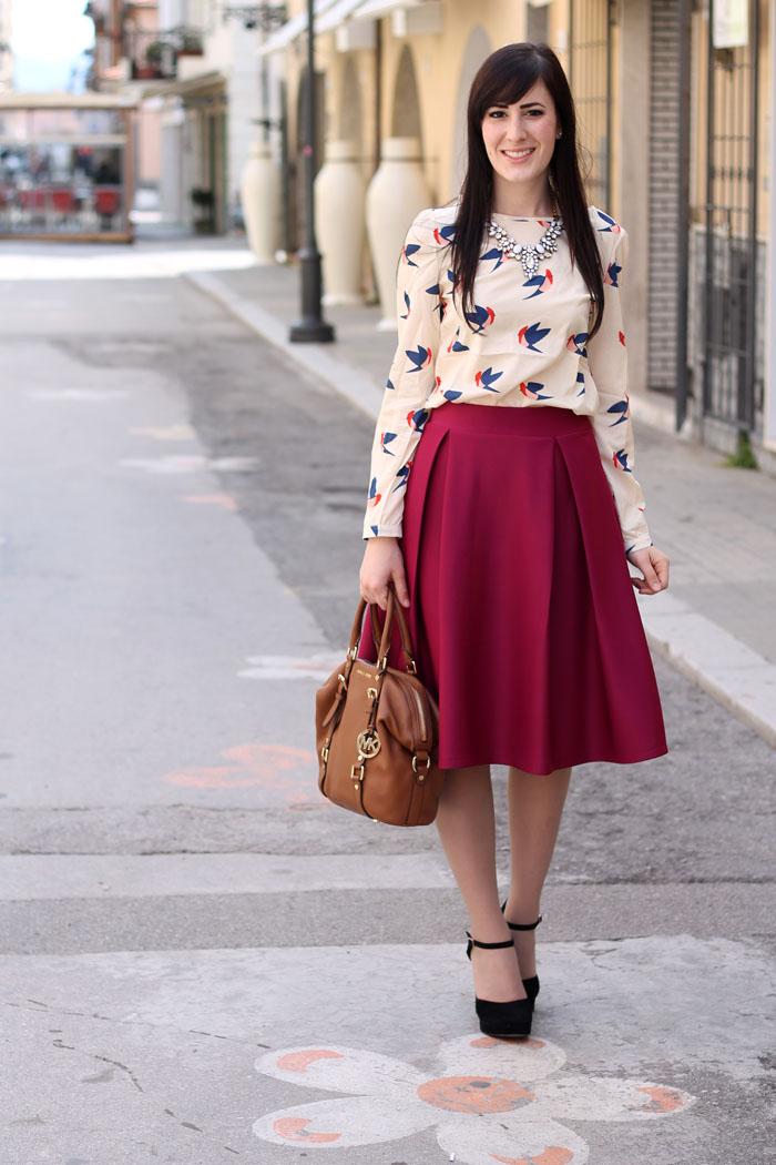 outfit primavera vintage bon ton gonna a ruota blusa trench 5bce2ef52d6