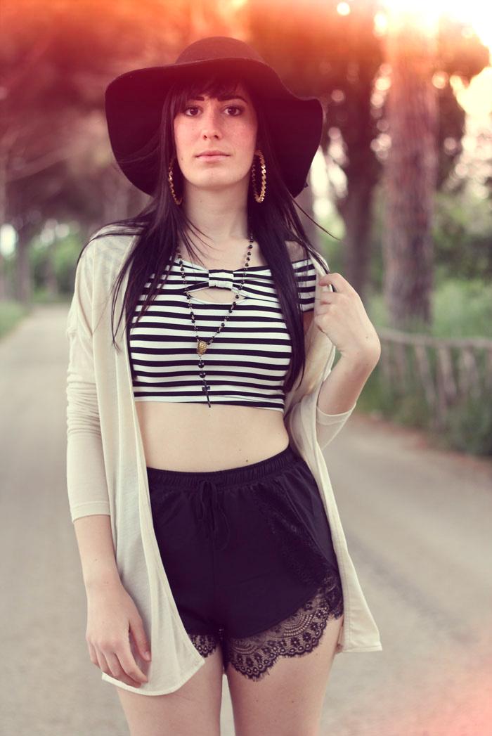 outfit boho shorts lingerie crop top