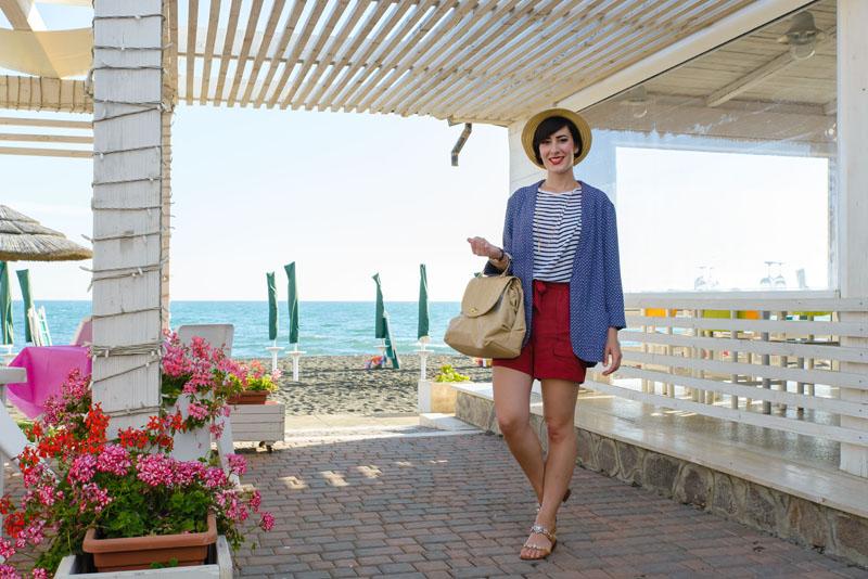 outfit estate marinara bianco rosso blu righe promod