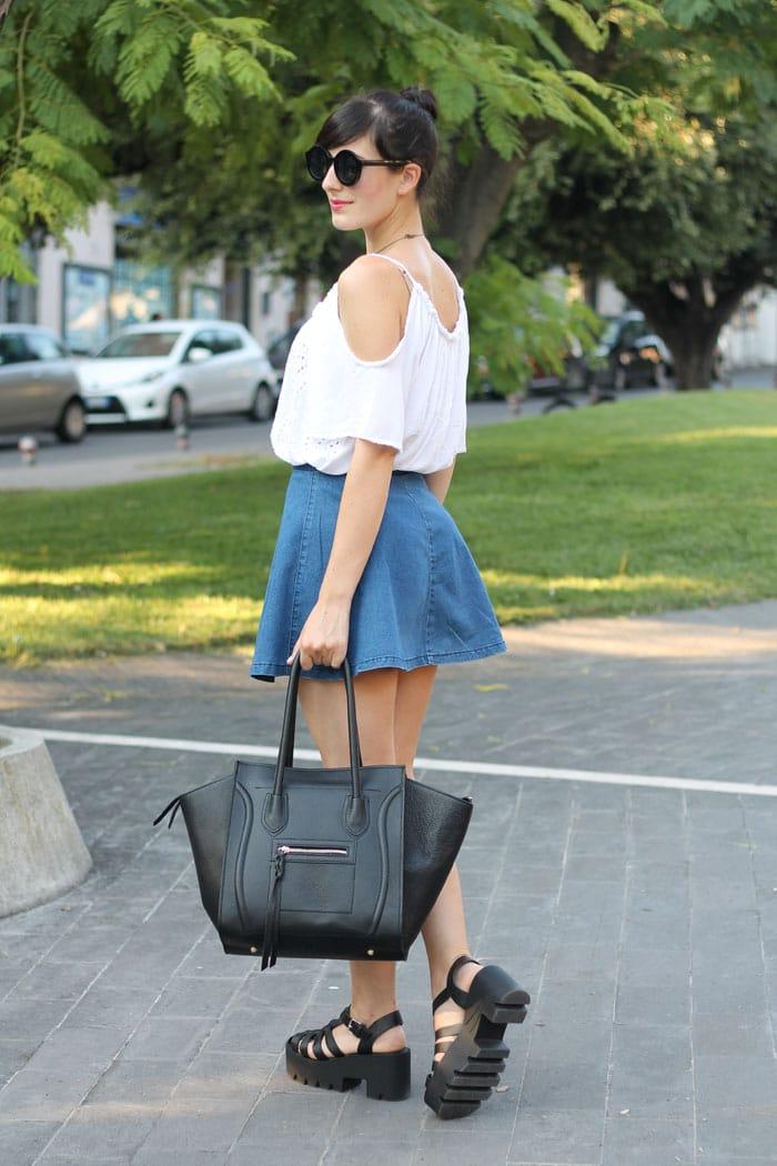 outfit-anni-90-gonna-jeans-scarpe-cult-shoes-borsa-celine-1