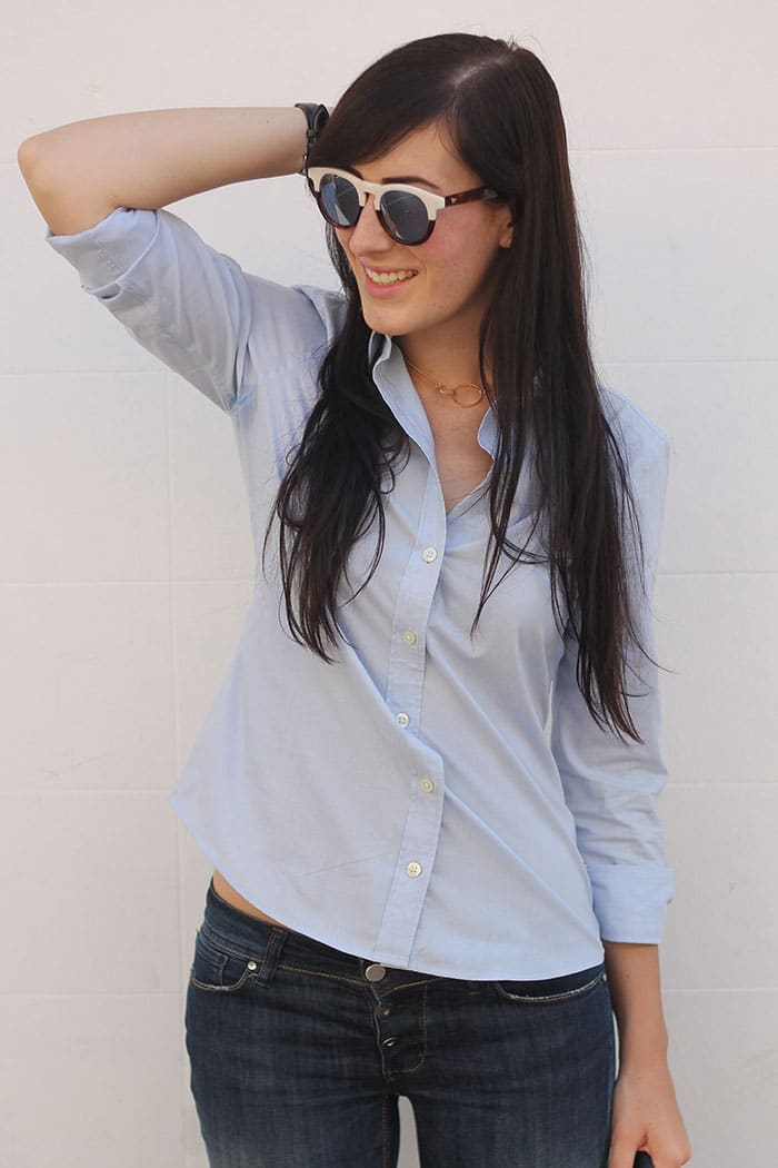 outfit casual jeans camicia occhiali da sole wolfnoir