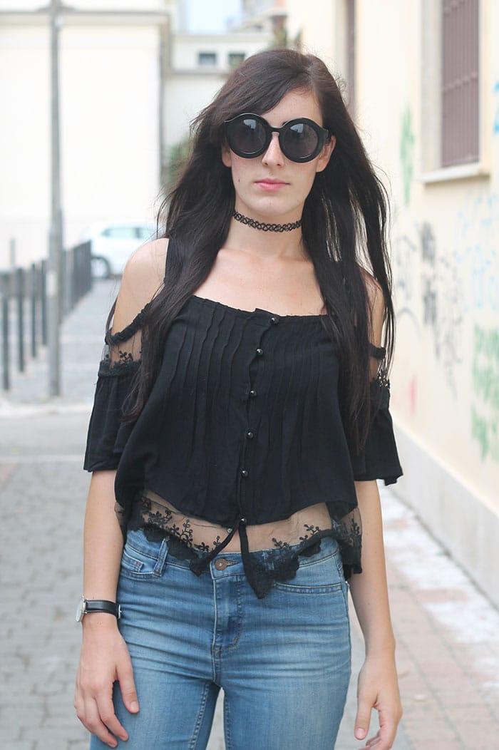 outfit grunge skinny flatform top sheinside