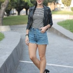 outfit rock hipster shorts jeans maglia righe bombetta