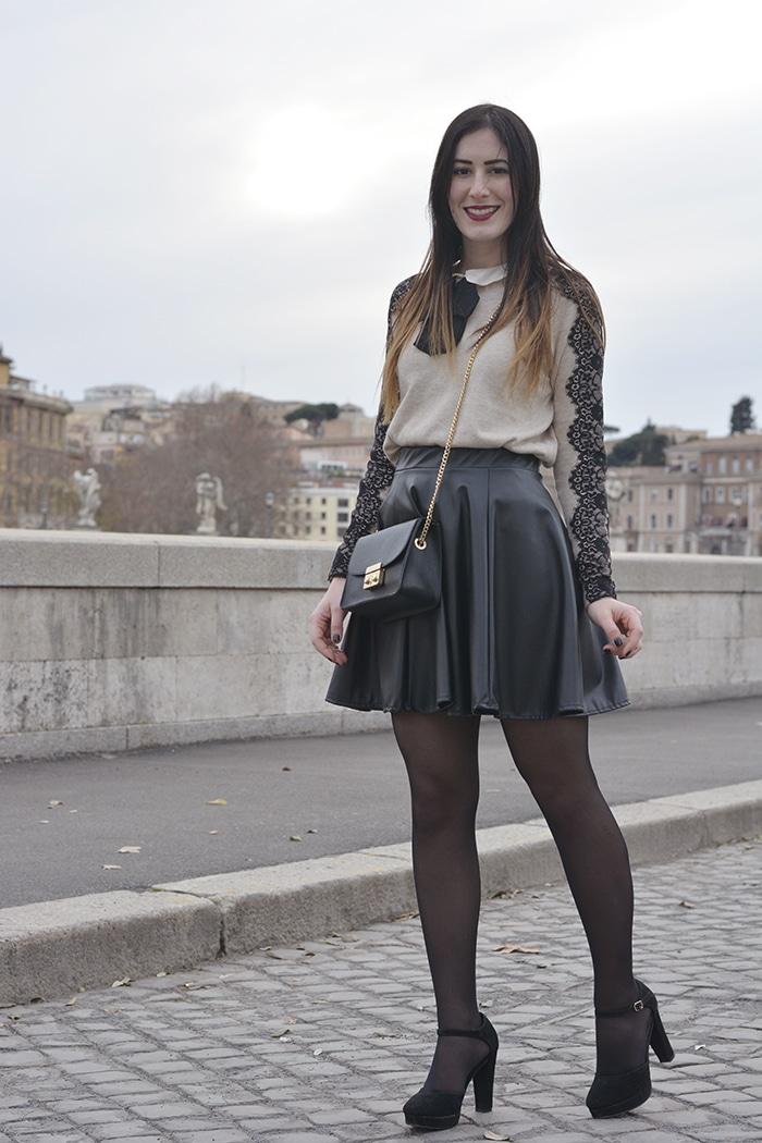 outfit bon ton gonna a ruota ecopelle tacchi roma