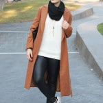 outfit casual normcore sporty camel coat adidas superstar