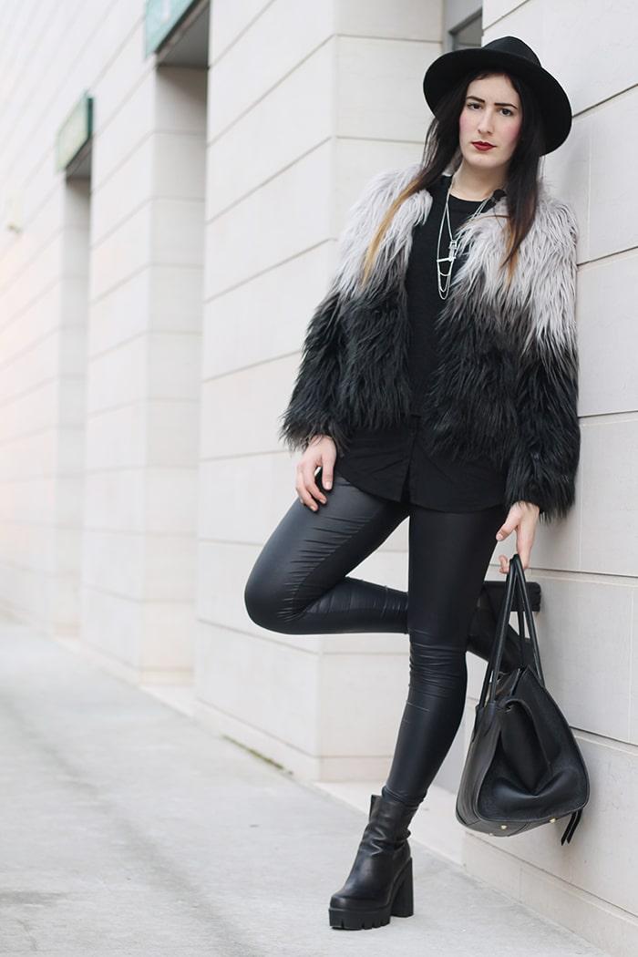 outfit pellicciotto grigio nero shein stivaletti cult shoes