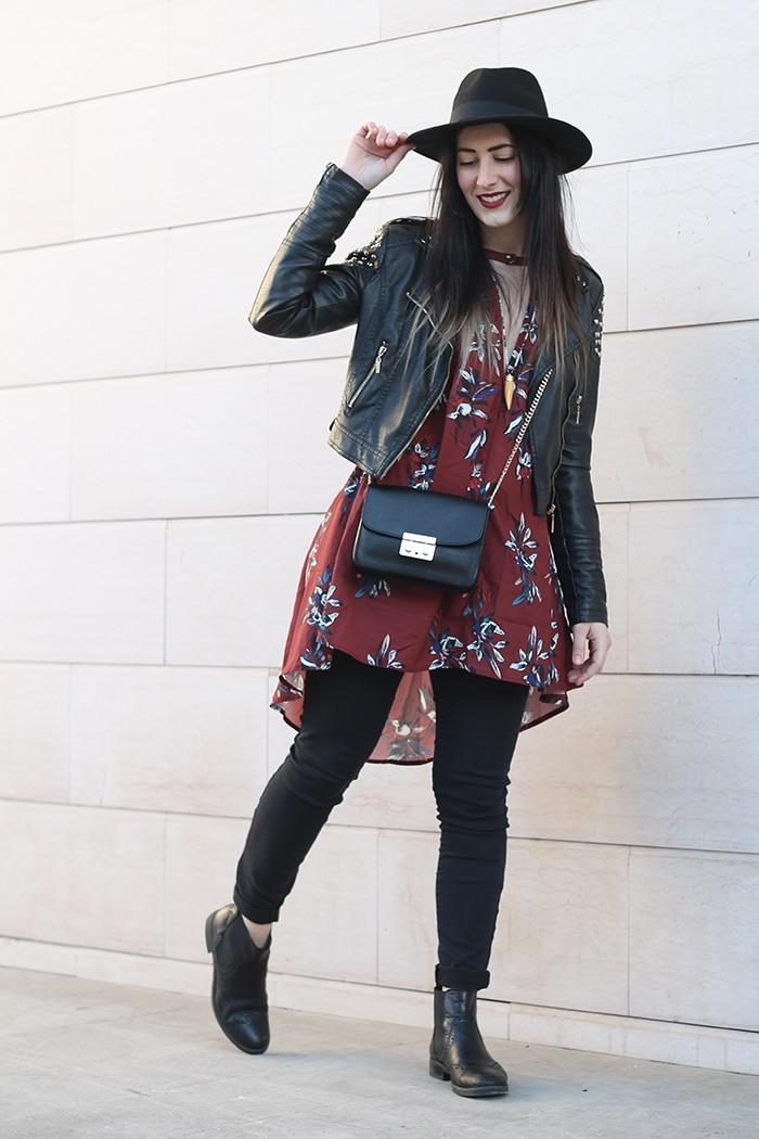 outfit-boho-chic-vestito-floreale-cappello-2a